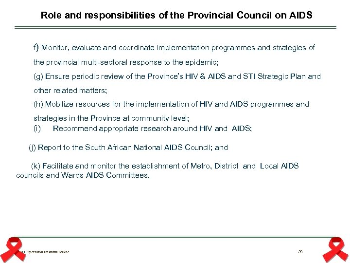 Role and responsibilities of the Provincial Council on AIDS f) Monitor, evaluate and coordinate