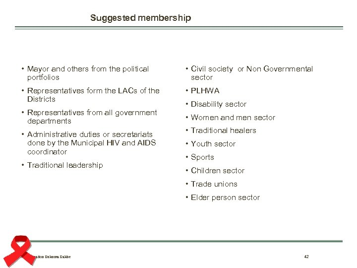 Suggested membership • Mayor and others from the political portfolios • Civil society or