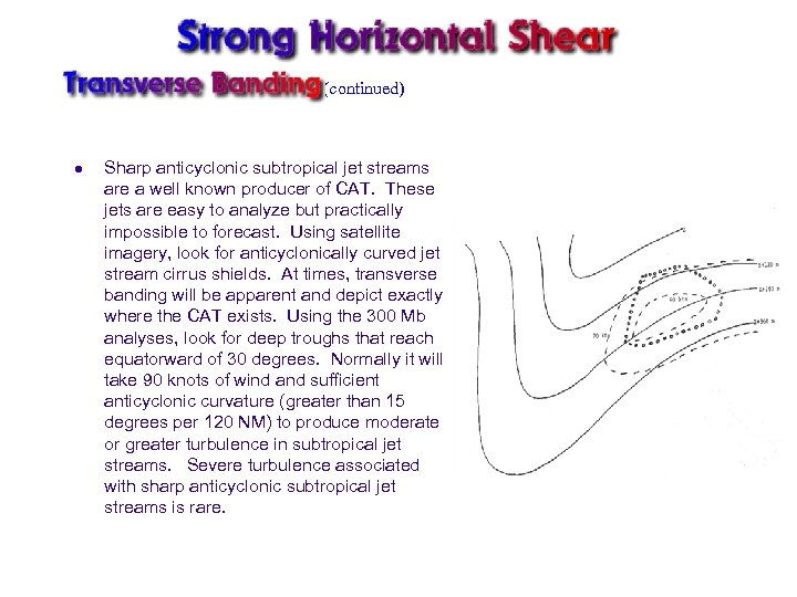 (continued) l Sharp anticyclonic subtropical jet streams are a well known producer of CAT.