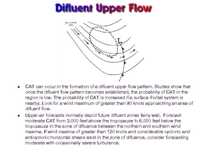 l l CAT can occur in the formation of a difluent upper flow pattern.