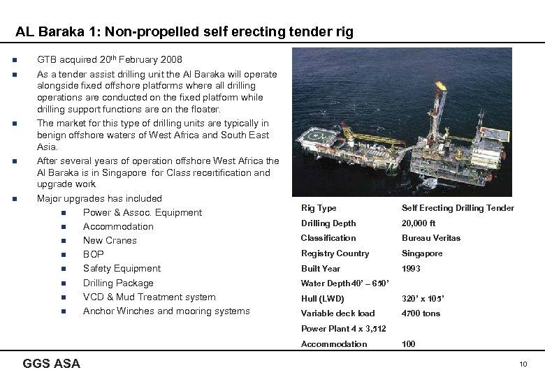 AL Baraka 1: Non-propelled self erecting tender rig n n n GTB acquired 20