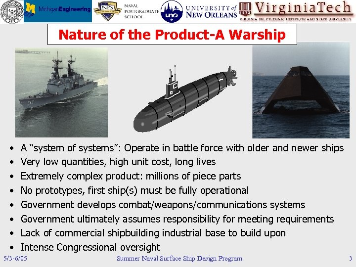 """Nature of the Product-A Warship • • A """"system of systems"""": Operate in battle"""