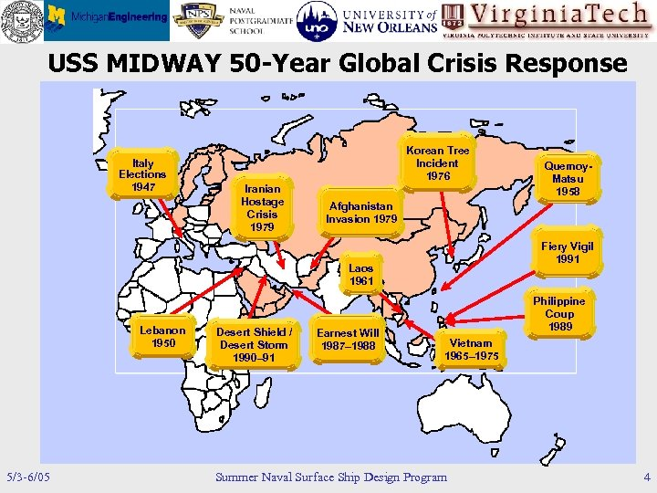 USS MIDWAY 50 -Year Global Crisis Response Italy Elections 1947 Korean Tree Incident 1976