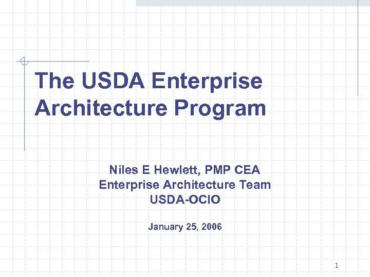 The USDA Enterprise Architecture Program Niles E Hewlett, PMP CEA Enterprise Architecture Team USDA-OCIO