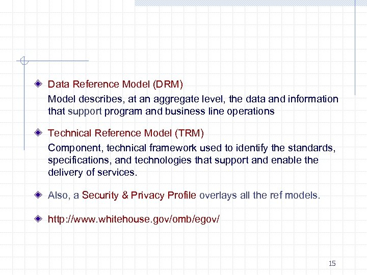 Data Reference Model (DRM) Model describes, at an aggregate level, the data and information