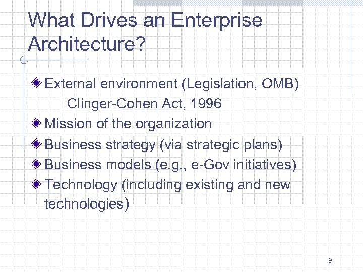 What Drives an Enterprise Architecture? External environment (Legislation, OMB) Clinger-Cohen Act, 1996 Mission of