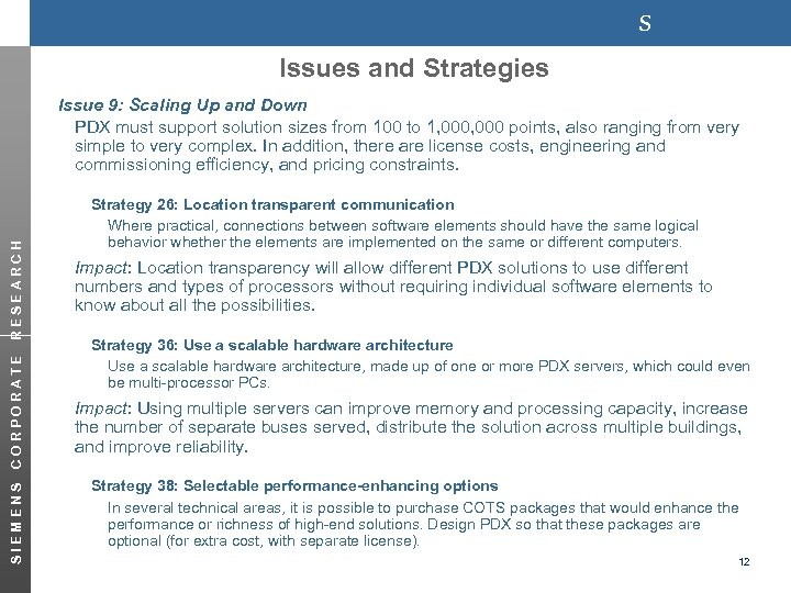 s Issues and Strategies SIEMENS CORPORATE RESEARCH Issue 9: Scaling Up and Down PDX