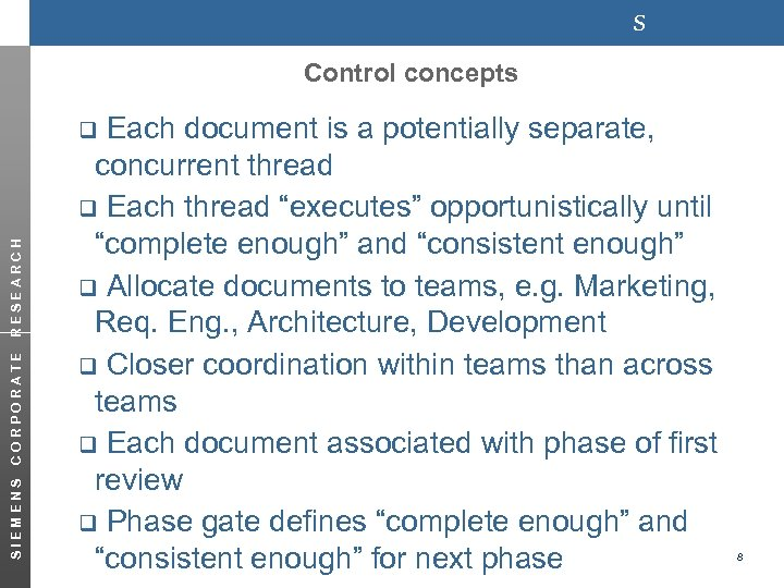 s Control concepts Each document is a potentially separate, concurrent thread q Each thread