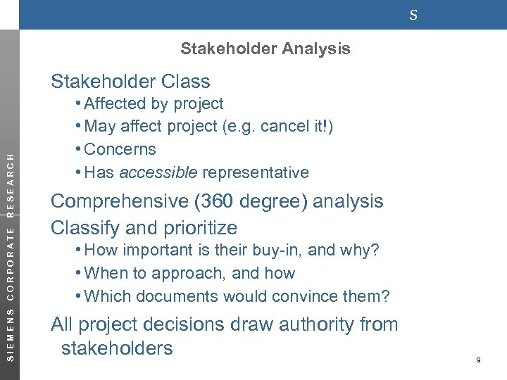 s Stakeholder Analysis Stakeholder Class SIEMENS CORPORATE RESEARCH i. Affected by project i. May