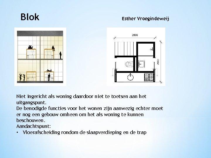 Blok Esther Vroegindeweij Niet ingericht als woning daardoor niet te toetsen aan het uitgangspunt.