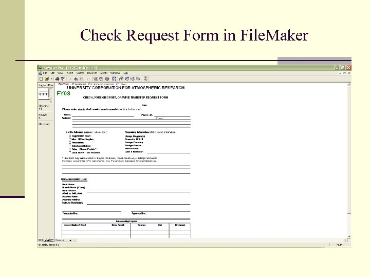 Check Request Form in File. Maker