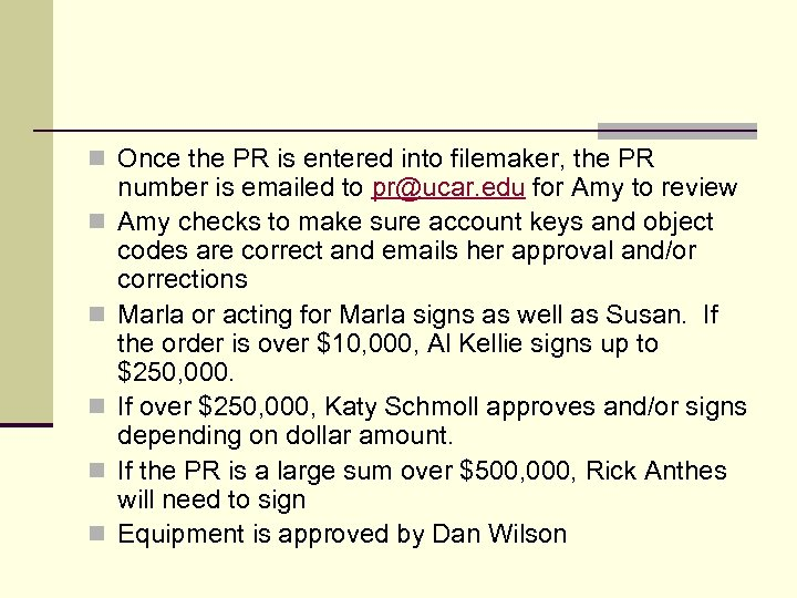 n Once the PR is entered into filemaker, the PR n n number is