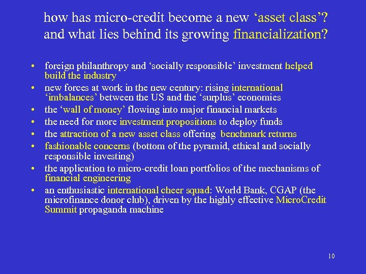 how has micro-credit become a new 'asset class'? and what lies behind its growing