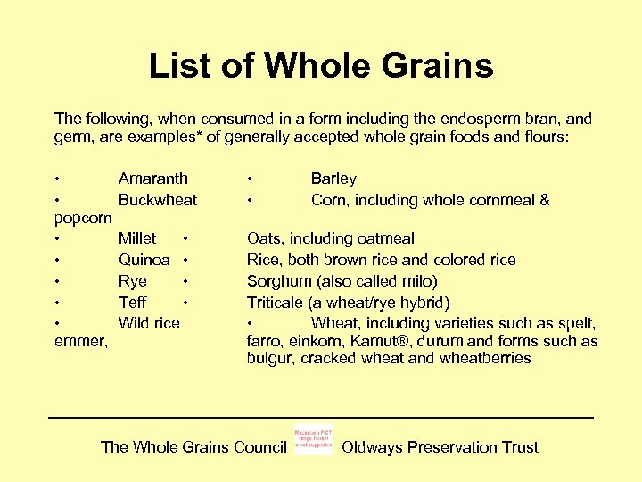 Make half your grains whole grains | choose myplate.