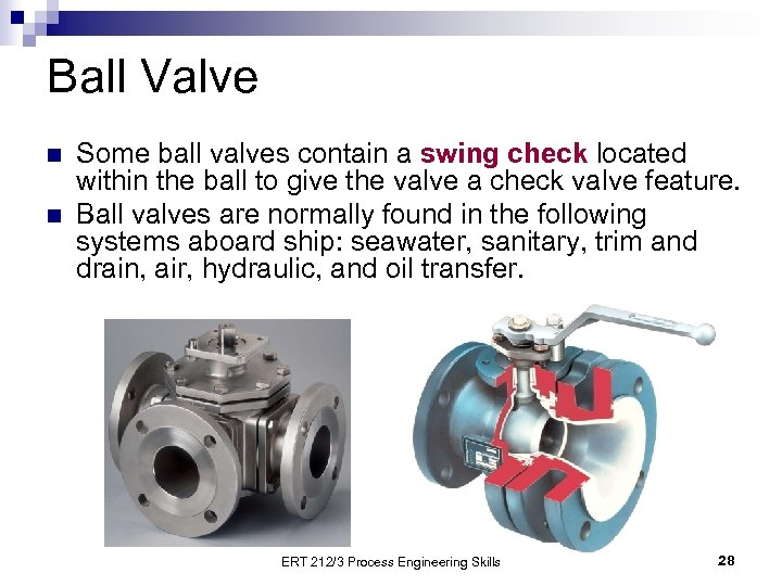 Ball Valve n n Some ball valves contain a swing check located within the