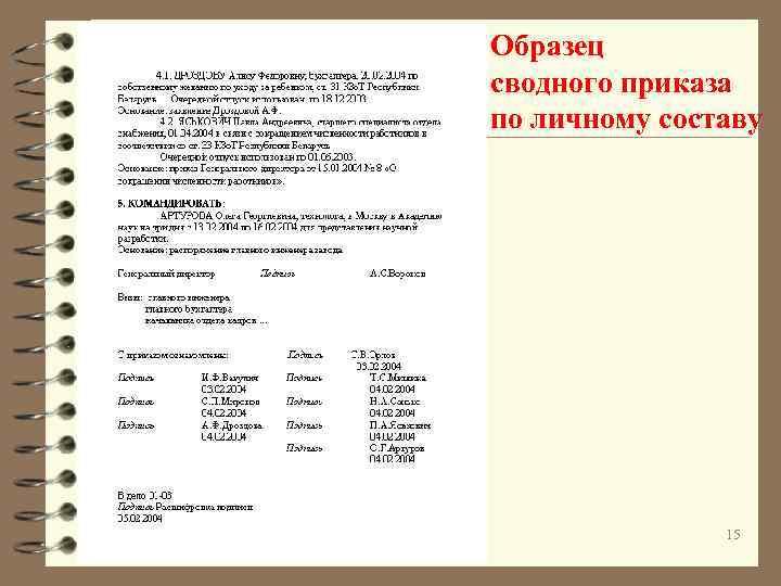 Образец сводного приказа по личному составу 15