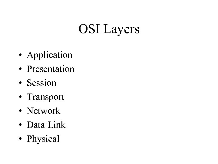 OSI Layers • • Application Presentation Session Transport Network Data Link Physical