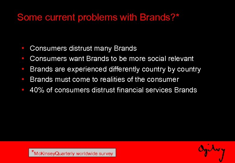 Some current problems with Brands? * • • • Consumers distrust many Brands Consumers