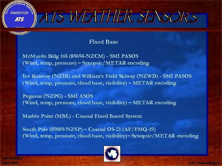 Fixed Base Mc. Murdo Bldg 165 (89694 -NZCM) - SMI PASOS (Wind, temp, pressure)