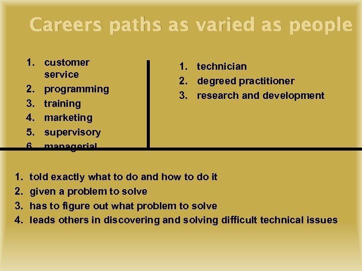 Careers paths as varied as people 1. customer service 2. programming 3. training 4.