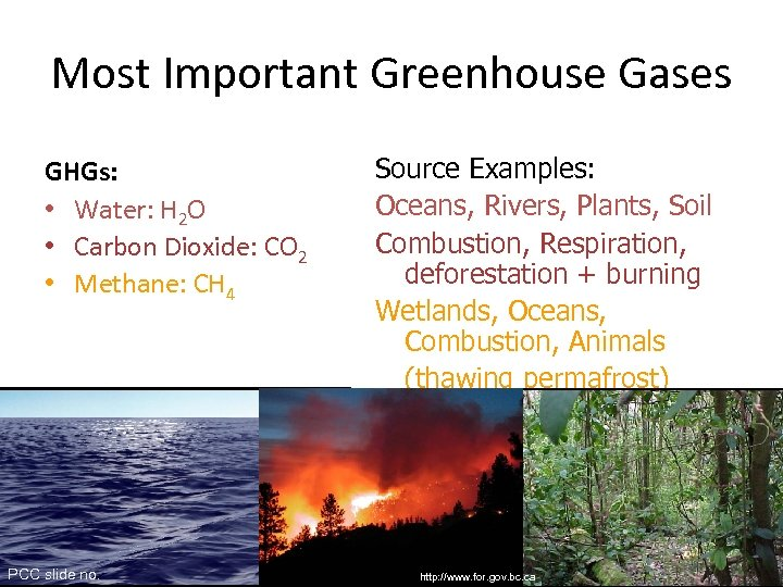 Most Important Greenhouse Gases GHGs: • Water: H 2 O • Carbon Dioxide: CO