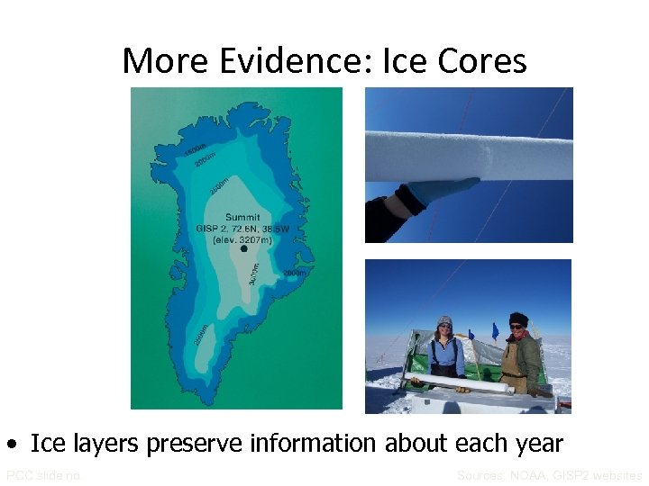 More Evidence: Ice Cores • Ice layers preserve information about each year PCC slide