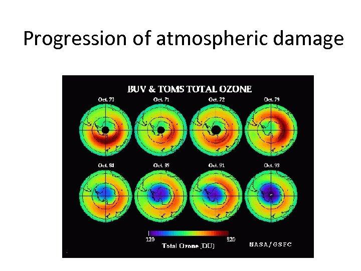 Progression of atmospheric damage