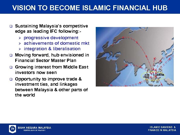 VISION TO BECOME ISLAMIC FINANCIAL HUB q q Sustaining Malaysia's competitive edge as leading