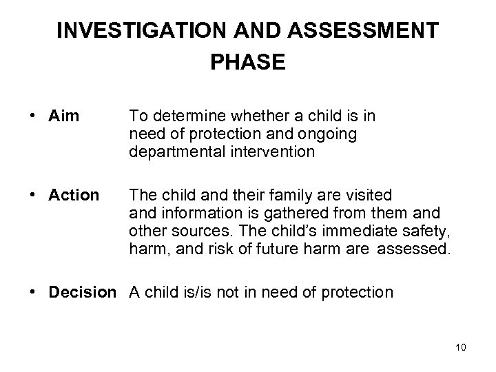INVESTIGATION AND ASSESSMENT PHASE • Aim To determine whether a child is in need