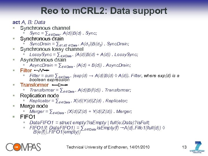 Reo to m. CRL 2: Data support act A, B: Data § Synchronous channel