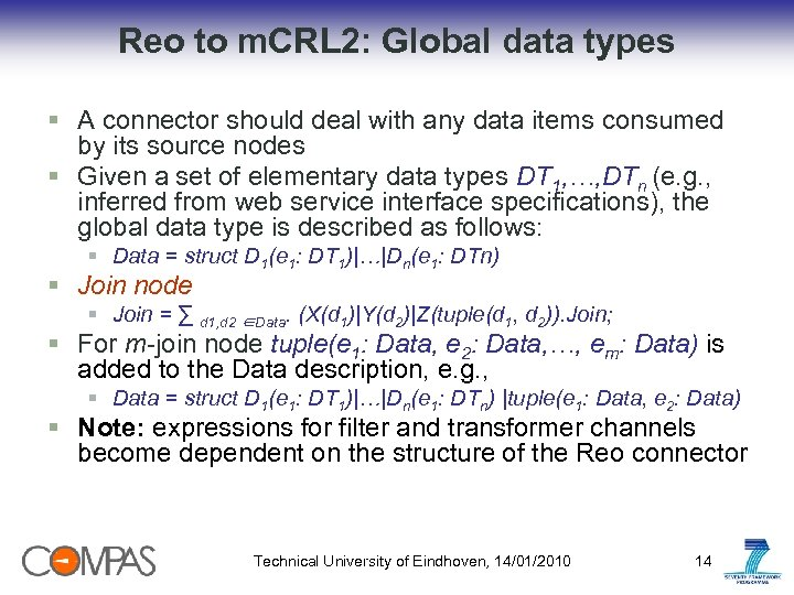 Reo to m. CRL 2: Global data types § A connector should deal with