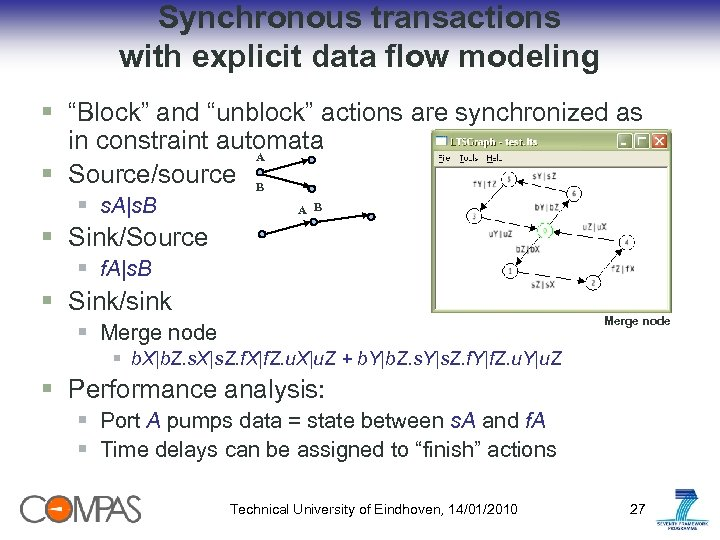 "Synchronous transactions with explicit data flow modeling § ""Block"" and ""unblock"" actions are synchronized"
