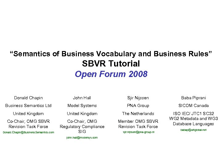 """""""Semantics of Business Vocabulary and Business Rules"""" SBVR Tutorial Open Forum 2008 Donald Chapin"""