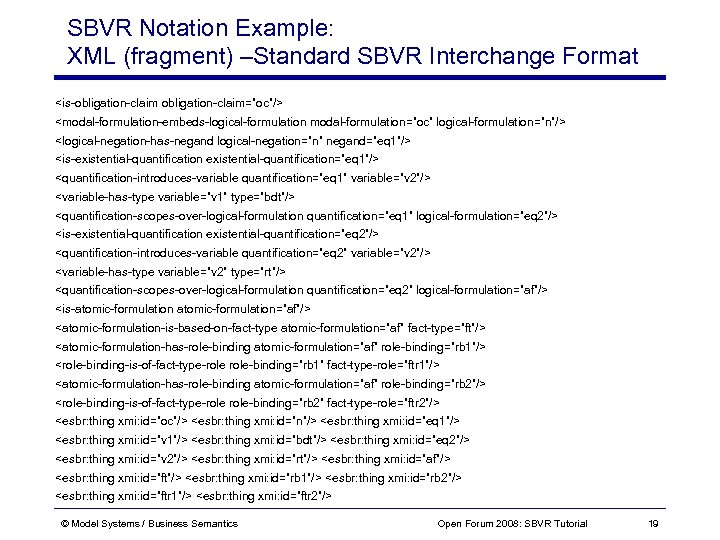 "SBVR Notation Example: XML (fragment) –Standard SBVR Interchange Format <is-obligation-claim=""oc""/> <modal-formulation-embeds-logical-formulation modal-formulation=""oc"" logical-formulation=""n""/> <logical-negation-has-negand"