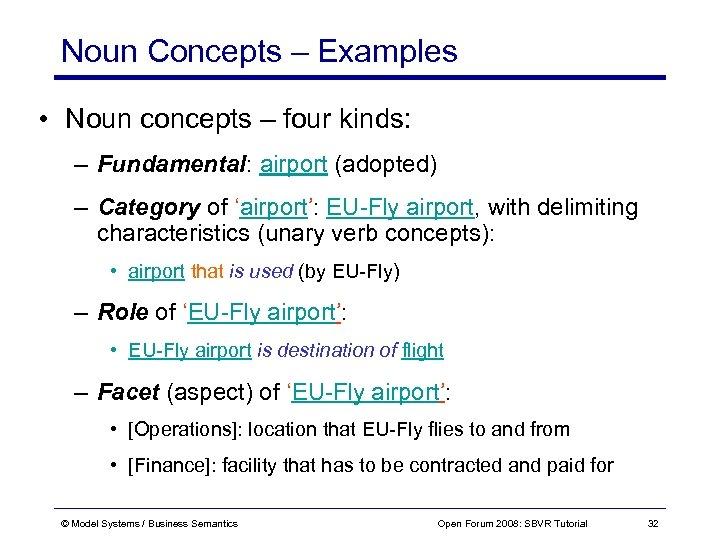 Noun Concepts – Examples • Noun concepts – four kinds: – Fundamental: airport (adopted)
