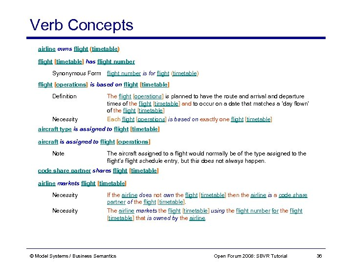Verb Concepts airline owns flight (timetable) flight [timetable] has flight number Synonymous Form flight