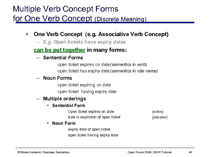 Multiple Verb Concept Forms for One Verb Concept (Discrete Meaning) • One Verb Concept
