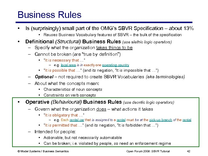Business Rules • Is (surprisingly) small part of the OMG's SBVR Specification – about