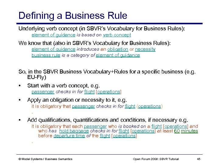 Defining a Business Rule Underlying verb concept (in SBVR's Vocabulary for Business Rules): element