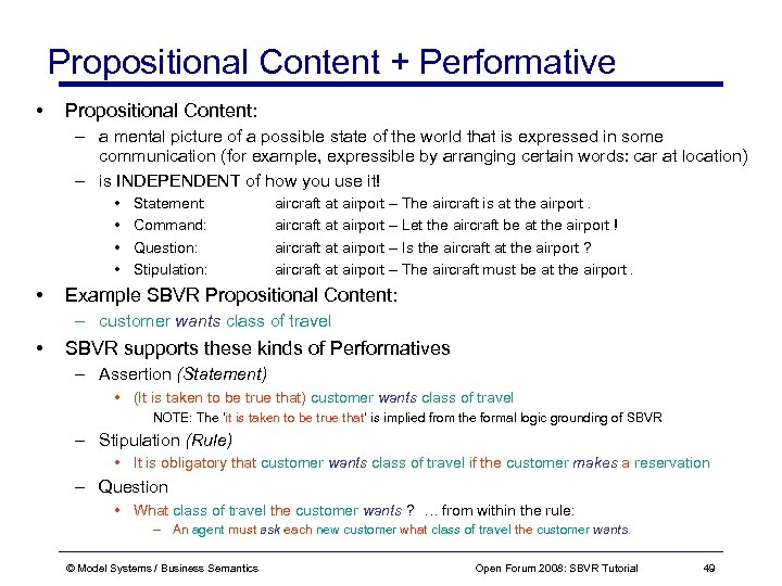 Propositional Content + Performative • Propositional Content: – a mental picture of a possible