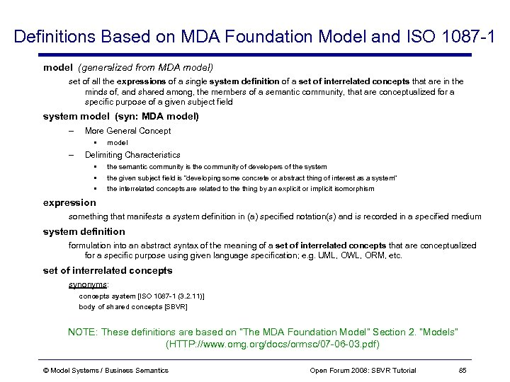 Definitions Based on MDA Foundation Model and ISO 1087 -1 model (generalized from MDA