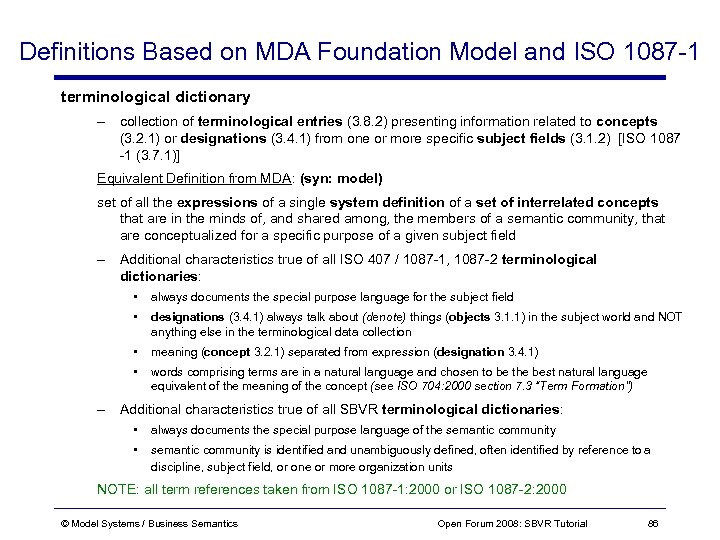 Definitions Based on MDA Foundation Model and ISO 1087 -1 terminological dictionary – collection