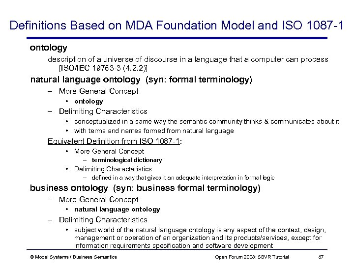 Definitions Based on MDA Foundation Model and ISO 1087 -1 ontology description of a