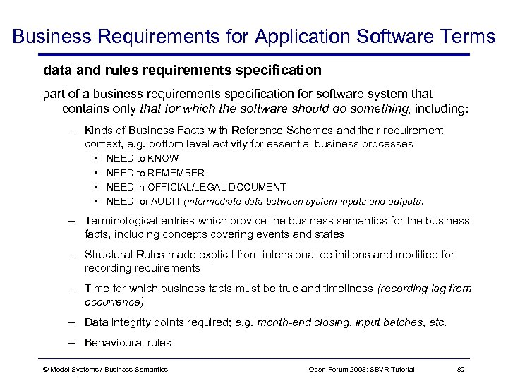 Business Requirements for Application Software Terms data and rules requirements specification part of a