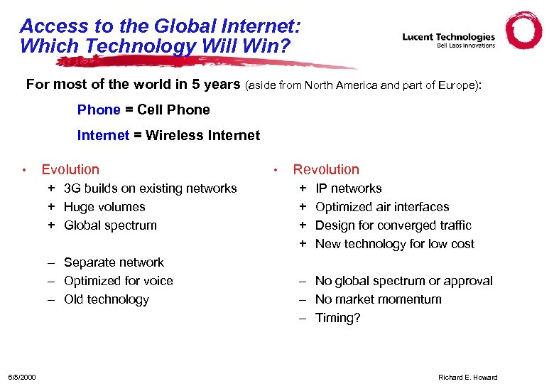 Access to the Global Internet: Which Technology Will Win? For most of the world
