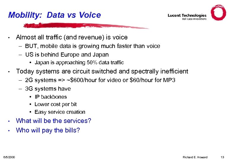 Mobility: Data vs Voice • Almost all traffic (and revenue) is voice – BUT,
