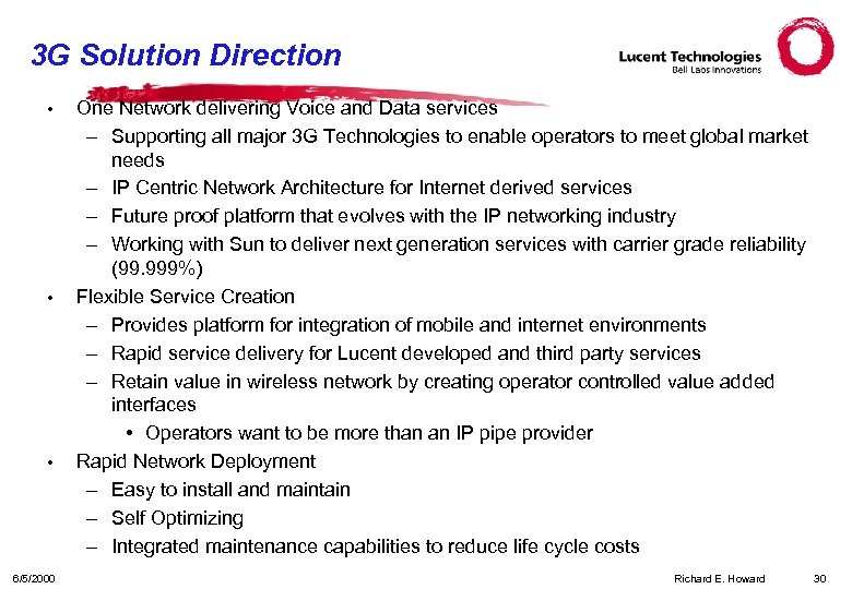 3 G Solution Direction • • • 6/5/2000 One Network delivering Voice and Data