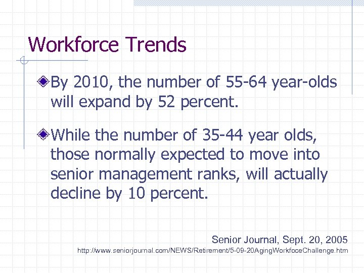 Workforce Trends By 2010, the number of 55 -64 year-olds will expand by 52