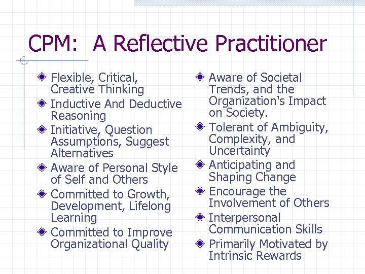 CPM: A Reflective Practitioner Flexible, Critical, Creative Thinking Inductive And Deductive Reasoning Initiative, Question