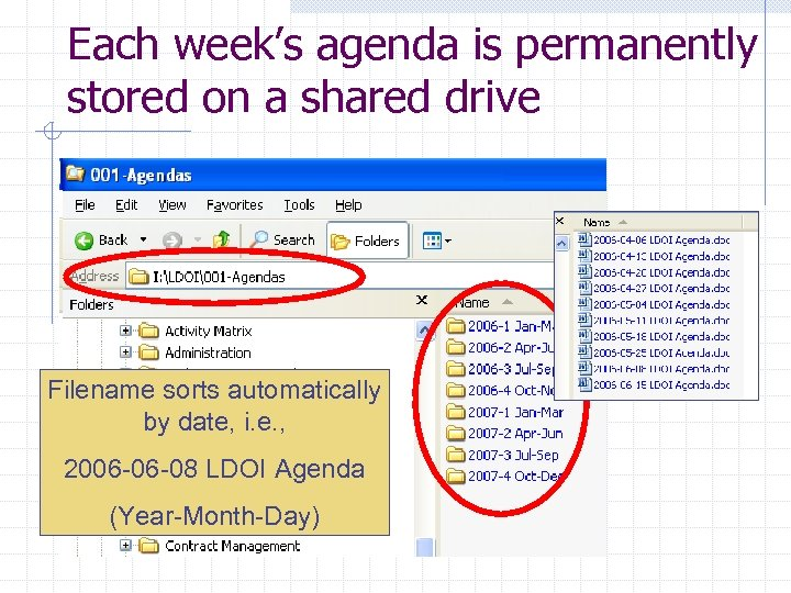 Each week's agenda is permanently stored on a shared drive Filename sorts automatically by